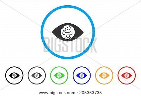 Smart Eye Lens rounded icon. Style is a flat smart eye lens gray symbol inside light blue circle with black, gray, green, blue, red, orange variants. Vector designed for web and software interfaces.