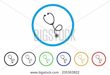 Stethoscope rounded icon. Style is a flat stethoscope gray symbol inside light blue circle with black, gray, green, blue, red, orange variants. Vector designed for web and software interfaces.