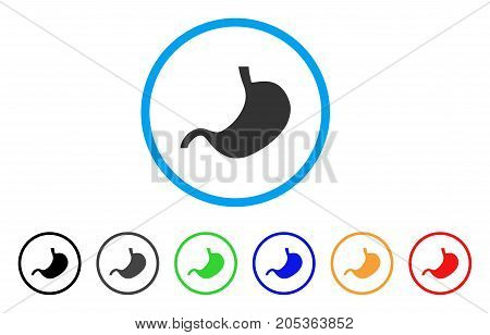 Stomach rounded icon. Style is a flat stomach gray symbol inside light blue circle with black, gray, green, blue, red, orange color versions. Vector designed for web and software interfaces.