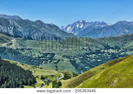 Beautiful landscape in Pyrenees mountains. In the distance there is Col de Val Louron Azet and the poit of view is on Col de Peyresourde.