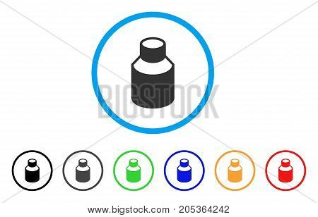 Vial rounded icon. Style is a flat vial gray symbol inside light blue circle with black, gray, green, blue, red, orange variants. Vector designed for web and software interfaces.