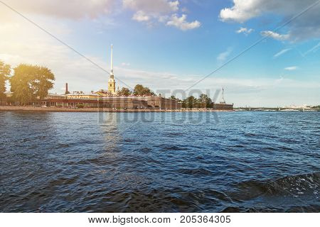 River Neva and Peter and Paul Fortress in St. Petersburg in the summer and autumn
