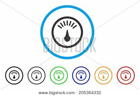 Weight Gauge rounded icon. Style is a flat weight gauge gray symbol inside light blue circle with black, gray, green, blue, red, orange variants. Vector designed for web and software interfaces.
