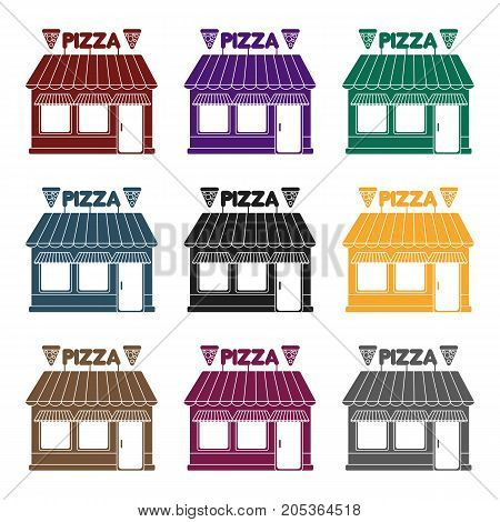 Pizzeria icon in black style isolated on white background. Pizza and pizzeria symbol vector illustration.