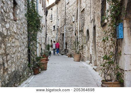 Street of Tourrettes-sur-Loup a medieval village in the Alpes-Maritimes department in southeastern France
