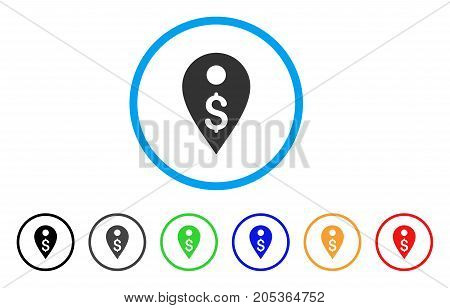 Dollar Map Marker rounded icon. Style is a flat dollar map marker grey symbol inside light blue circle with black, gray, green, blue, red, orange color versions.