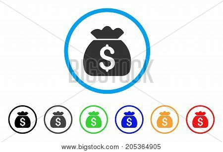 Money Bag rounded icon. Style is a flat money bag grey symbol inside light blue circle with black, gray, green, blue, red, orange versions. Vector designed for web and software interfaces.