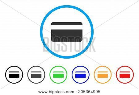 Plastic Card rounded icon. Style is a flat plastic card gray symbol inside light blue circle with black, gray, green, blue, red, orange variants. Vector designed for web and software interfaces.