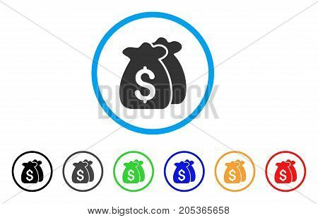Funds rounded icon. Style is a flat funds gray symbol inside light blue circle with black, gray, green, blue, red, orange color versions. Vector designed for web and software interfaces.