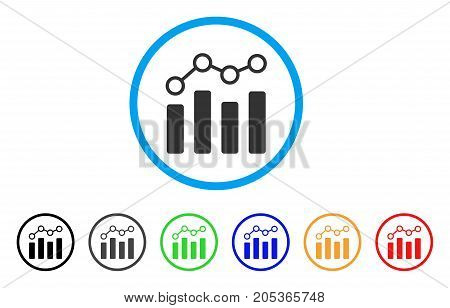 Point Chart rounded icon. Style is a flat point chart grey symbol inside light blue circle with black, gray, green, blue, red, orange versions. Vector designed for web and software interfaces.
