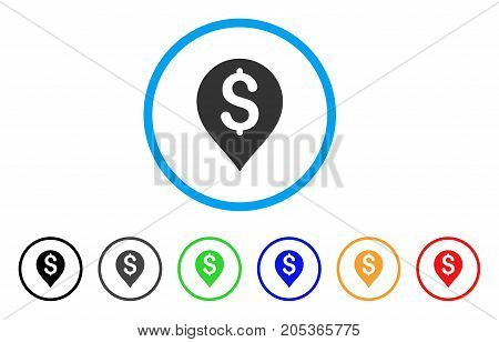 Bank Map Marker rounded icon. Style is a flat bank map marker grey symbol inside light blue circle with black, gray, green, blue, red, orange variants. Vector designed for web and software interfaces.