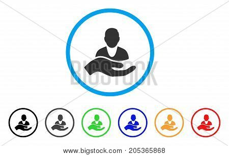 Client Care Hand rounded icon. Style is a flat client care hand gray symbol inside light blue circle with black, gray, green, blue, red, orange variants.
