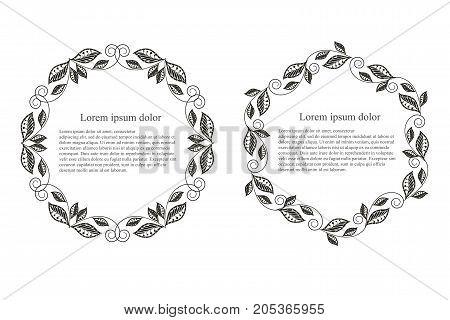 Monochrome leaf round frame Lorem ipsum stock vector illustration