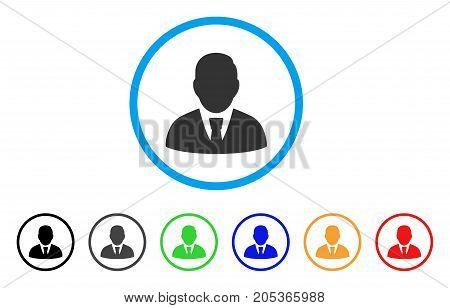 Manager rounded icon. Style is a flat manager grey symbol inside light blue circle with black, gray, green, blue, red, orange variants. Vector designed for web and software interfaces.
