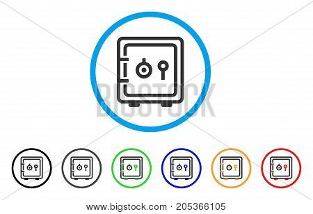 Safe rounded icon. Style is a flat safe gray symbol inside light blue circle with black, gray, green, blue, red, orange versions. Vector designed for web and software interfaces.