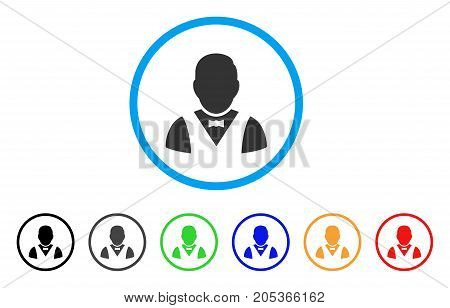 Waiter rounded icon. Style is a flat waiter gray symbol inside light blue circle with black, gray, green, blue, red, orange versions. Vector designed for web and software interfaces.