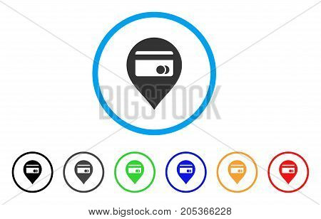 ATM Map Marker rounded icon. Style is a flat atm map marker gray symbol inside light blue circle with black, gray, green, blue, red, orange versions. Vector designed for web and software interfaces.