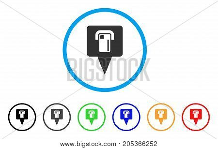 ATM Terminal Map Pointer rounded icon. Style is a flat atm terminal map pointer grey symbol inside light blue circle with black, gray, green, blue, red, orange variants.