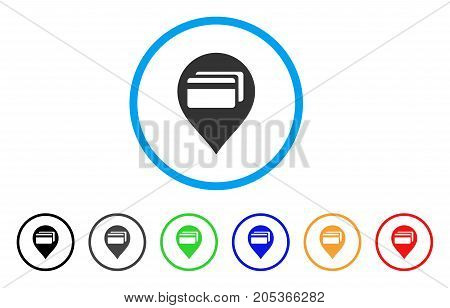 ATM Terminal Pointer rounded icon. Style is a flat atm terminal pointer gray symbol inside light blue circle with black, gray, green, blue, red, orange versions.