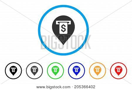 Cash Machine Pointer rounded icon. Style is a flat cash machine pointer grey symbol inside light blue circle with black, gray, green, blue, red, orange variants.
