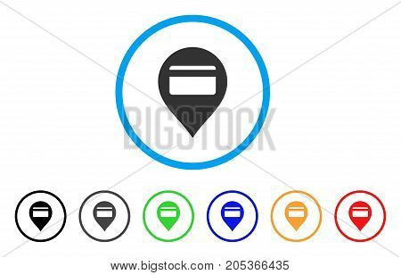 Credit Card Pointer rounded icon. Style is a flat credit card pointer gray symbol inside light blue circle with black, gray, green, blue, red, orange versions.