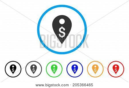 Dollar Map Marker rounded icon. Style is a flat dollar map marker gray symbol inside light blue circle with black, gray, green, blue, red, orange versions.