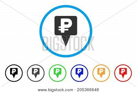 Rouble Map Pointer rounded icon. Style is a flat rouble map pointer gray symbol inside light blue circle with black, gray, green, blue, red, orange versions.