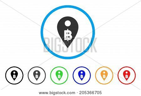 Thai Baht Map Marker rounded icon. Style is a flat thai baht map marker grey symbol inside light blue circle with black, gray, green, blue, red, orange color versions.