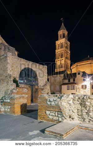 Old town area with a view of the bell tower Cathedral of St. Duje. Split Croatia.