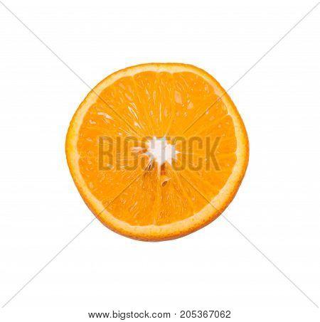 Half of an orange isolated on white background