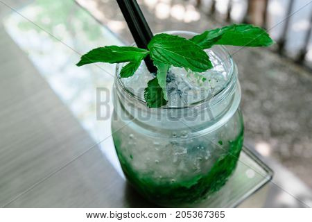 Cocktail mojito on the table in a restaurant