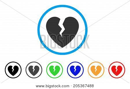 Broken Heart rounded icon. Style is a flat broken heart gray symbol inside light blue circle with black, gray, green, blue, red, orange color versions. Vector designed for web and software interfaces.