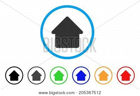 Cabin rounded icon. Style is a flat cabin grey symbol inside light blue circle with black, gray, green, blue, red, orange versions. Vector designed for web and software interfaces.