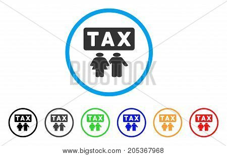 Family Tax Pressure rounded icon. Style is a flat family tax pressure grey symbol inside light blue circle with black, gray, green, blue, red, orange versions.