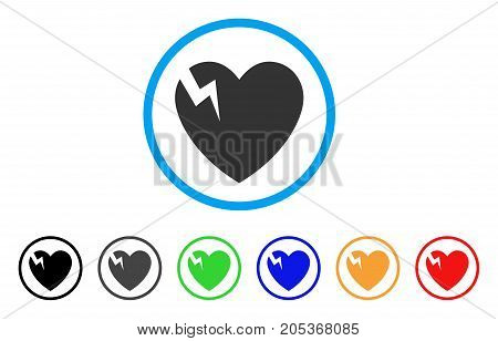 Heart Crack rounded icon. Style is a flat heart crack gray symbol inside light blue circle with black, gray, green, blue, red, orange color versions. Vector designed for web and software interfaces.