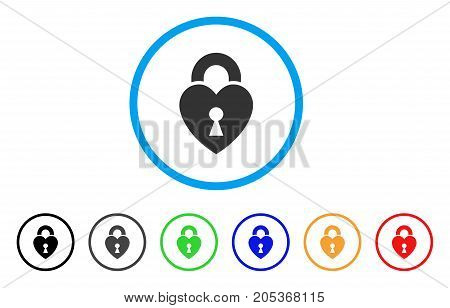 Heart Lock rounded icon. Style is a flat heart lock grey symbol inside light blue circle with black, gray, green, blue, red, orange variants. Vector designed for web and software interfaces.