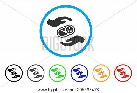 Newborn Care Hands rounded icon. Style is a flat newborn care hands grey symbol inside light blue circle with black, gray, green, blue, red, orange versions.