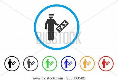 Tax Officer rounded icon. Style is a flat tax officer gray symbol inside light blue circle with black, gray, green, blue, red, orange versions. Vector designed for web and software interfaces.