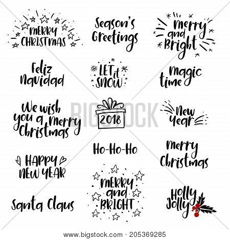 Merry Christmas and Happy New Year handwritten set. Hand lettering postcard, emblem, banner, gift card, graphic design element. Calligraphy. Photo overlay. Winter Holidays vector. Isolated on white