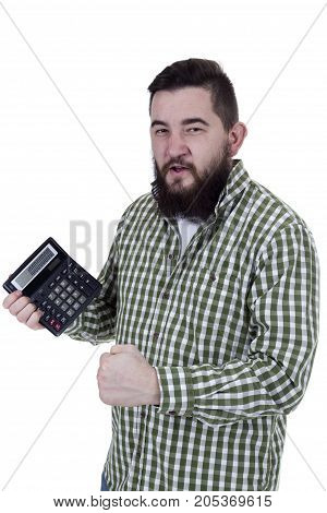 Young bearded man with calculator on white background
