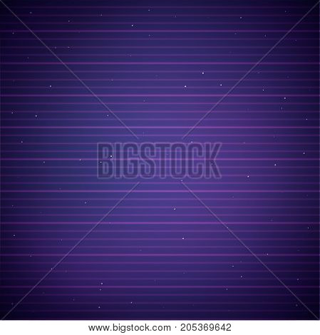 Dark neon background in retro 80s style. Abstract striped texture resembling old CRT monitor screen. Vector illustration for graphic design.