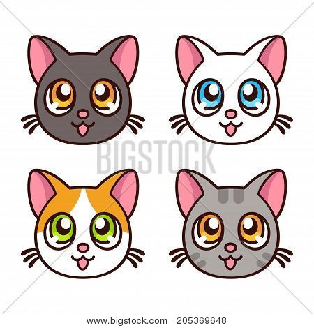Cute anime cat faces funny kawaii kitty set. Vector illustration.
