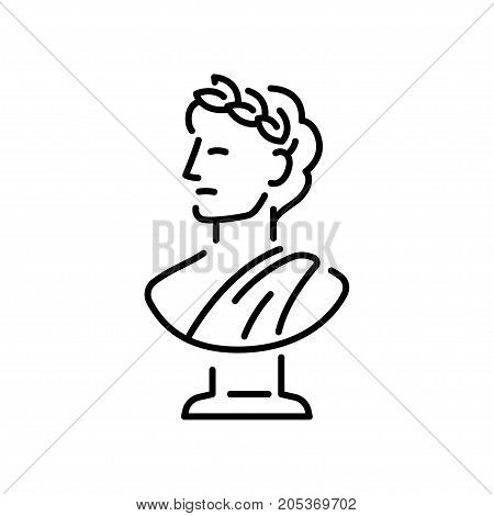 Ancient Greek bust sculpture with laurel wreath. Young man head in profile classic statue logo or icon. Simple modern vector illustration.