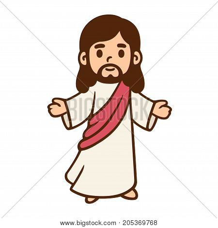 Jesus Christ in cute cartoon style. Christian Bible for kids vector illustration.