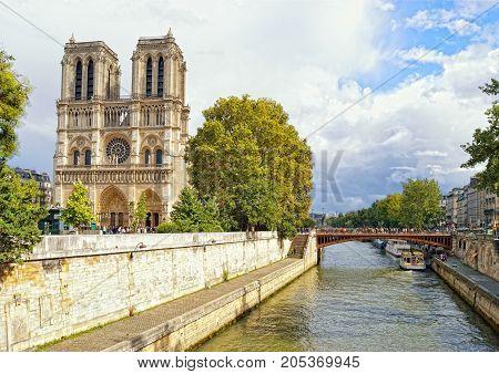 Notre Dame de Paris at sunny day.