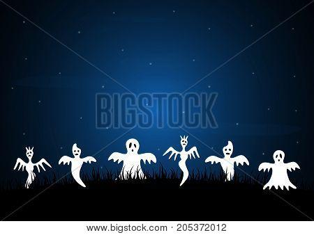 Halloween White Ghost Graveyard