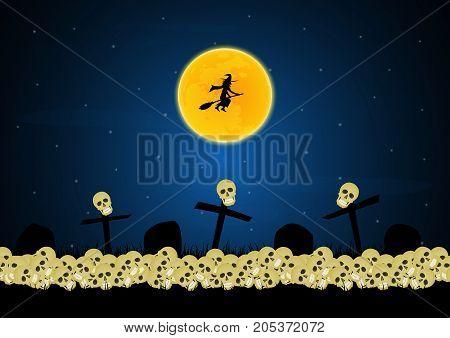 Halloween Skull Graveyard Cross Moon Witch Background