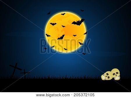 Halloween Skull Graveyard Cross Moon Bat Background