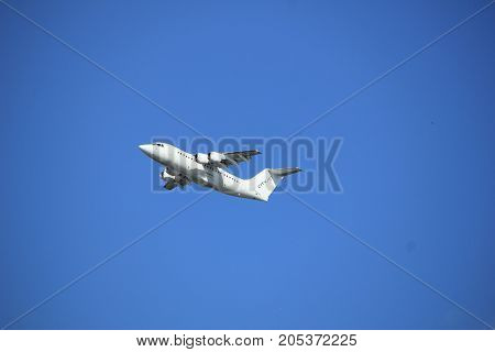 Amsterdam the Netherlands - September 23rd 2017: EI-RJC Cityjet British Aerospace Avro RJ85 takeoff from Kaagbaan runway Amsterdam Airport Schiphol