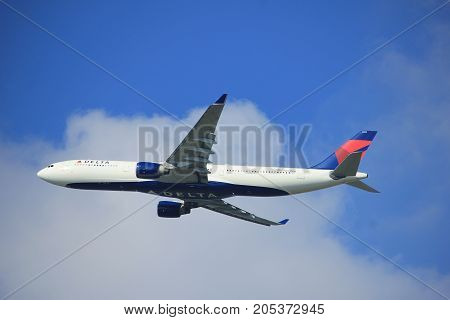 Amsterdam the Netherlands - September 23rd 2017: N803NW Delta Air Lines Airbus A330-323 takeoff from Kaagbaan runway Amsterdam Airport Schiphol